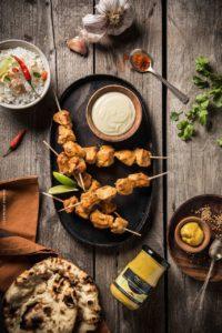 Brochettes de poulet à l'indienne et moutarde tandoori